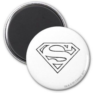 S-Schild | van de superman het Eenvoudige Zwarte Ronde Magneet 5,7 Cm