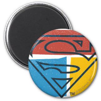 S-Schild | van de superman het Rode Blauwe Gele Ronde Magneet 5,7 Cm