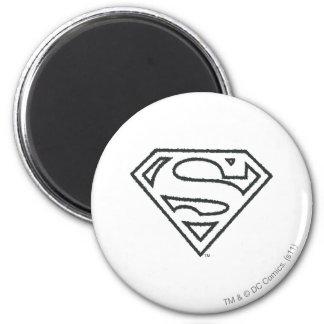 S-Schild | van de superman het Zwarte Logo van het Ronde Magneet 5,7 Cm