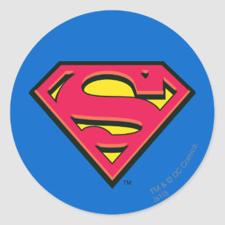 S-Schild | van de superman Klassiek Logo Ronde Sticker