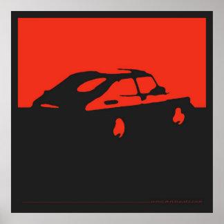 Saab 900 SPG/Aero - Rood op houtskool zwart poster