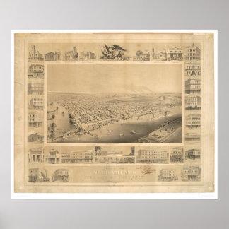 Sacramento, CA. Panoramische Kaart 1857 (0066A) Poster