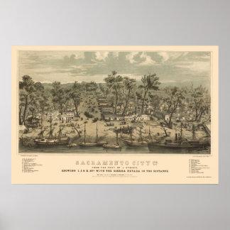Sacramento, de Panoramische Kaart van CA - 1850 Poster