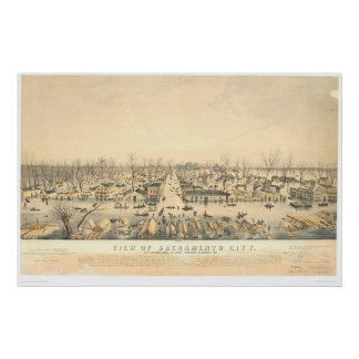 Sacramento tijdens Vloed van 1850 (1586A) Poster