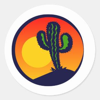 saguaro zonsondergang ronde sticker