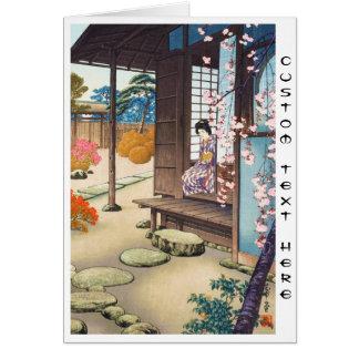 Saito Hodo Bijin door een Tuin Engawa in de Lente Notitiekaart