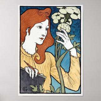 Salon des Cent, Jugendstil 1894 door Eugene Grasse Poster