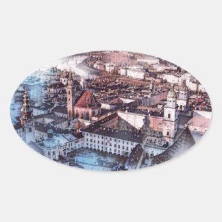 Salzburg in Art. Ovale Sticker