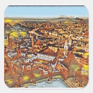 Salzburg in Art. Vierkante Sticker