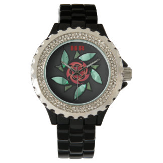 Samenvatting Rozerood op Zwarte (Met monogram) Horloges