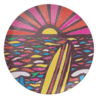 Samenvatting van Surfer van het Zeegezicht van de Diner Borden