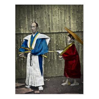 Samoeraien en Bediende Briefkaart