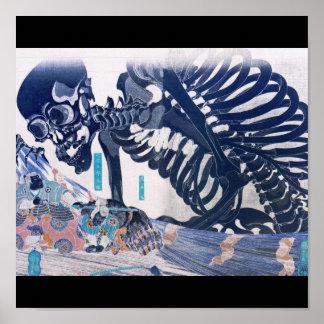 Samoeraien, het Schilderen van het Skelet circa 18 Poster