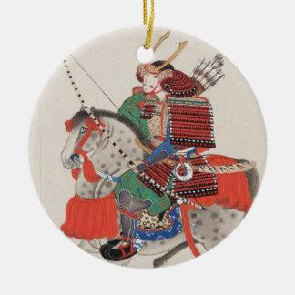 Samoeraien op Horseback die Pantser & Gehoornde Rond Keramisch Ornament