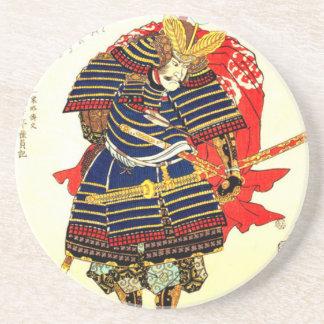 Samoeraien - Utagawa Kuniyoshi 歌川国芳 Zandsteen Onderzetter