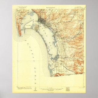 San Diego, CA--1904 Kaart Poster