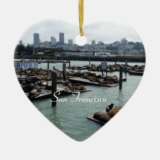 San Francisco en Pijler 39 de Horizon van de Stad Keramisch Hart Ornament