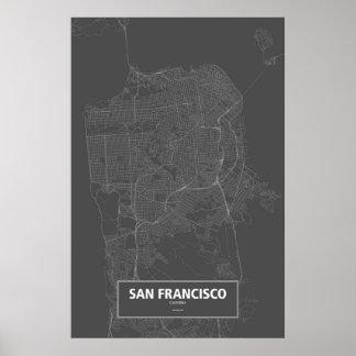San Francisco, wit Californië (op zwarte) Poster