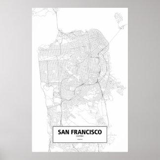 San Francisco, zwart Californië (op wit) Poster