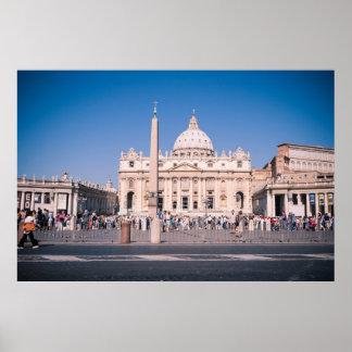 San Pietro Basilica in de Stad van Vatikaan Poster