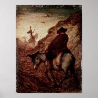 Sancho en trekt Don Quichot, 19de eeuw aan Poster