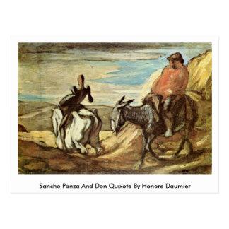 Sancho Panza en trekt Don Quichot door Honore Briefkaart