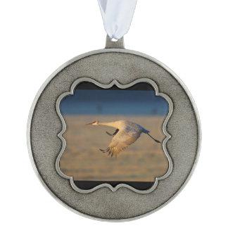 sandhill kraan tin geschulpt ornament