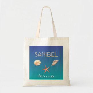 Sanibel met zeeschelpen en douanenaam draagtas