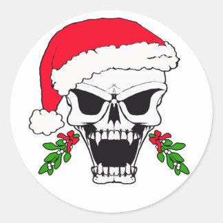 Santa van de schedel ronde sticker