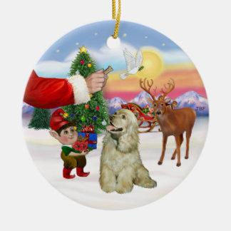 Santas behandelt - Bleekgele Cocker-spaniël Rond Keramisch Ornament