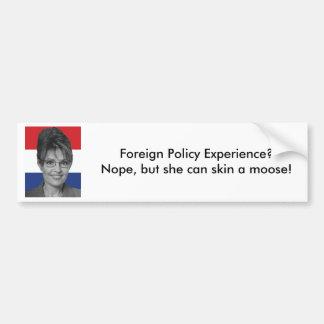 Sarah Palin, de Ervaring van het Buitenlandse Bele Bumpersticker