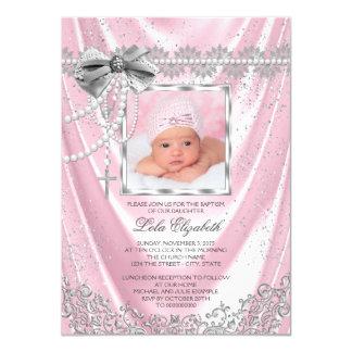 Satijn van het Doopsel van de Foto van meisjes 11,4x15,9 Uitnodiging Kaart