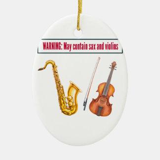 saxofoon en violen keramisch ovaal ornament
