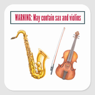 saxofoon en violen vierkant stickers