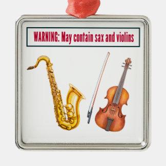 saxofoon en violen zilverkleurig vierkant ornament