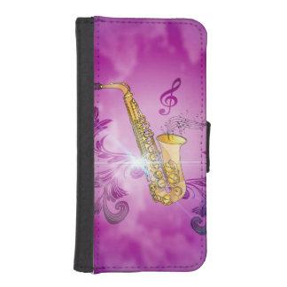 Saxofoon met zeer belangrijke nota's en sleutel iPhone 5 portemonnee hoesje