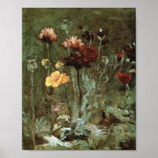 Scabiosa Ranunculus Van Gogh Fine Art. Poster