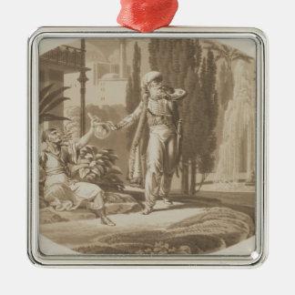 Scène van het 'Huwelijk van Figaro Zilverkleurig Vierkant Ornament