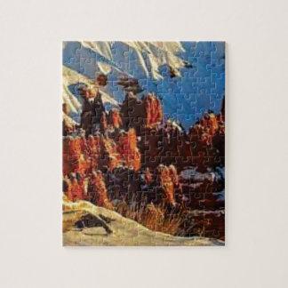 scènes van de sneeuw rode rots legpuzzel