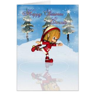Schaatsen van het Elf van Emma het Happy Christmas Wenskaart