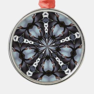 Schaduwen van Blauwe Caleidoscoop Zilverkleurig Rond Ornament