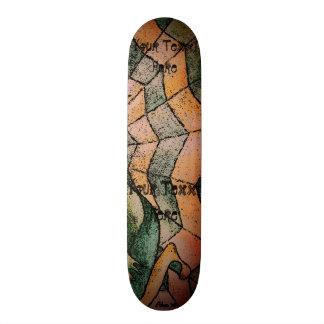 schaduwen van het groene abstracte retro art. van skateboard deck