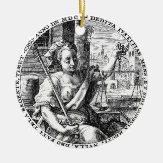 Schalen van Rechtvaardigheid Rond Keramisch Ornament