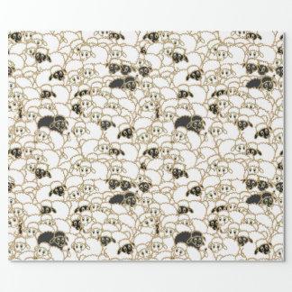schapen, reusachtige zwart-witte troep inpakpapier