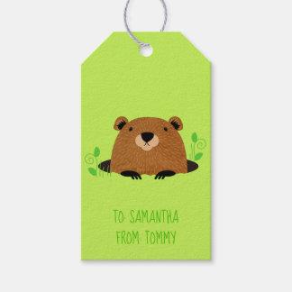 Schattig BosPatroon Groundhog Cadeaulabel