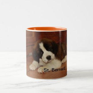 Schattig en Zoet St. Bernard Puppy Tweekleurige Koffiemok