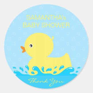 Schattig Geel Blauw RubberBaby shower Ducky Ronde Sticker