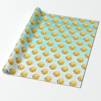 Schattig het Knipogen Smiley Emoji Gezicht Cadeaupapier