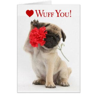 Schattig Pug Puppy Valentijn met een Rode Anjer Wenskaart