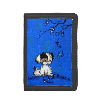 schattig puppy in de herfstdruk drievoud portemonnee